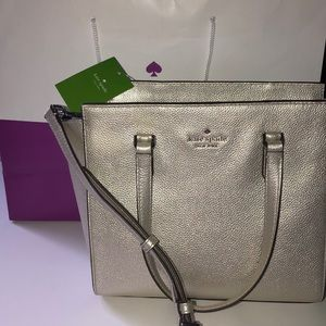 Kate Spade NWT Jackson Medium Satchel in Silver